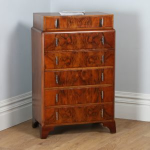 Antique Art Deco Figured Walnut Bedroom Chest of Drawers / Tallboy (Circa 1930)
