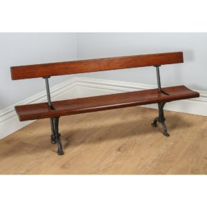 Antique Welsh Victorian 6ft Pitch Pine & Cast Iron Adjustable Bench (Circa 1880)