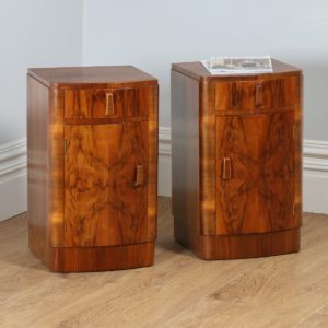 Antique Pair of Art Deco Figured Walnut Bedside Cupboards / Cabinets (Circa 1930)