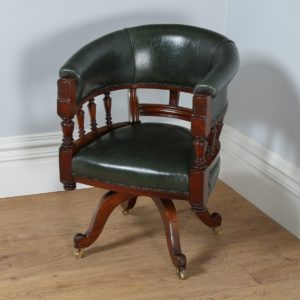 Antique Victorian Mahogany Revolving Green Leather Desk Chair (Circa 1880)