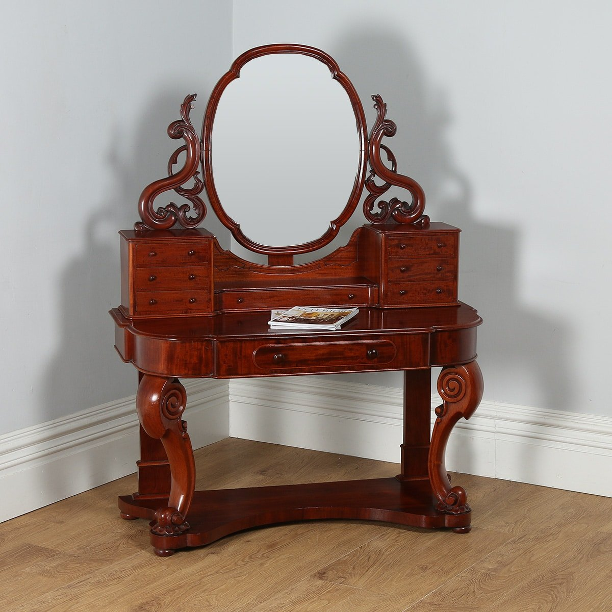 Victorian dressing table - English Figured Mahogany Victorian Duchess Dressing Table With Mirror Circa 1870