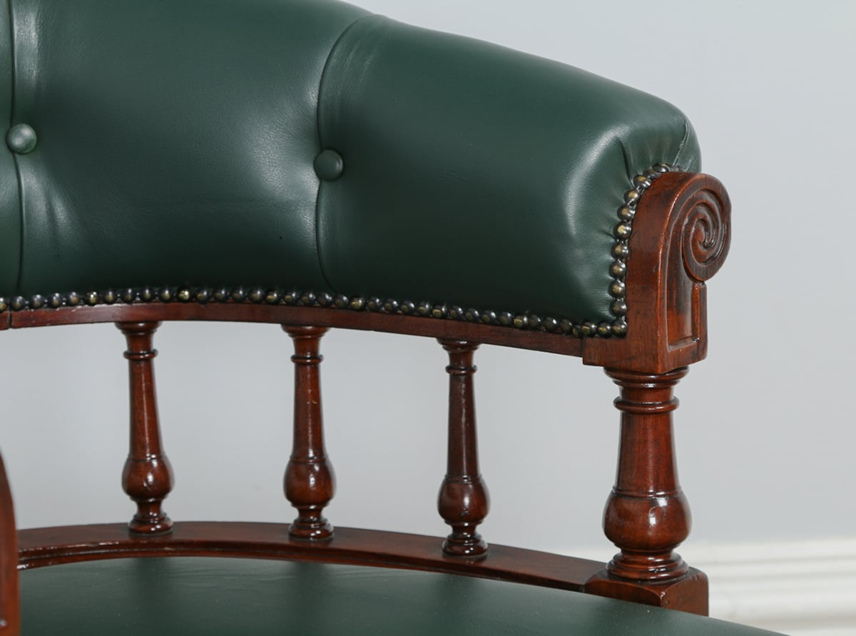 Antique Victorian Gany Green Leather Office Desk Chair Circa 1890