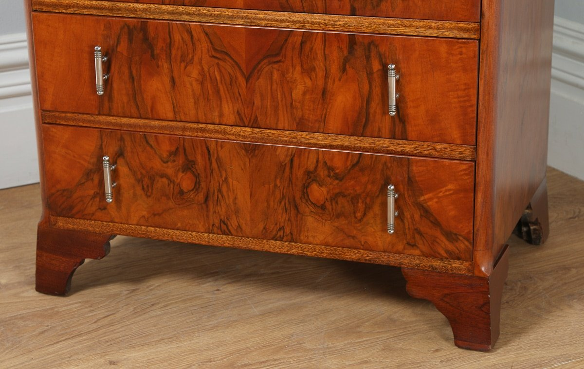 antique art deco figured walnut bedroom chest of drawers tallboy circa 1930 antique. Black Bedroom Furniture Sets. Home Design Ideas