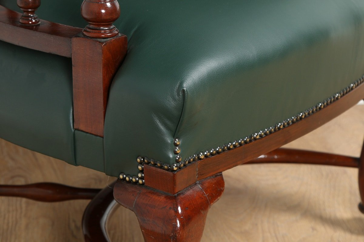 antique victorian mahogany green leather office desk chair circa