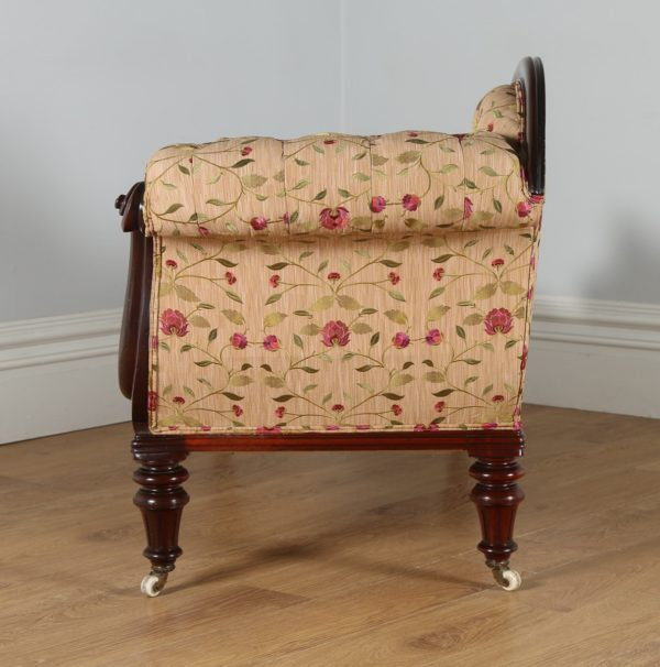 Antique Victorian Mahogany Upholstered Floral Embroidered Chaise Longue (Circa 1850)