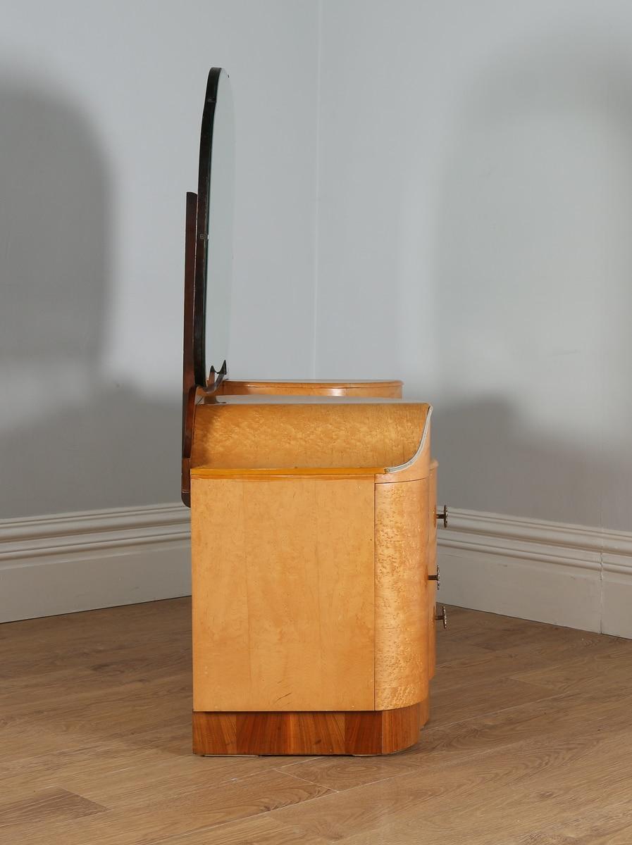 English art deco style birds eye maple dressing table by