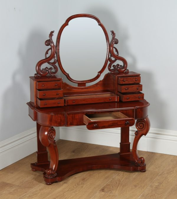 English Figured Mahogany Victorian Duchess Dressing Table with Mirror (Circa 1870)