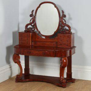 English Figured Mahogany Victorian Duchess Dressing Table with Mirror (Circa 1870)
