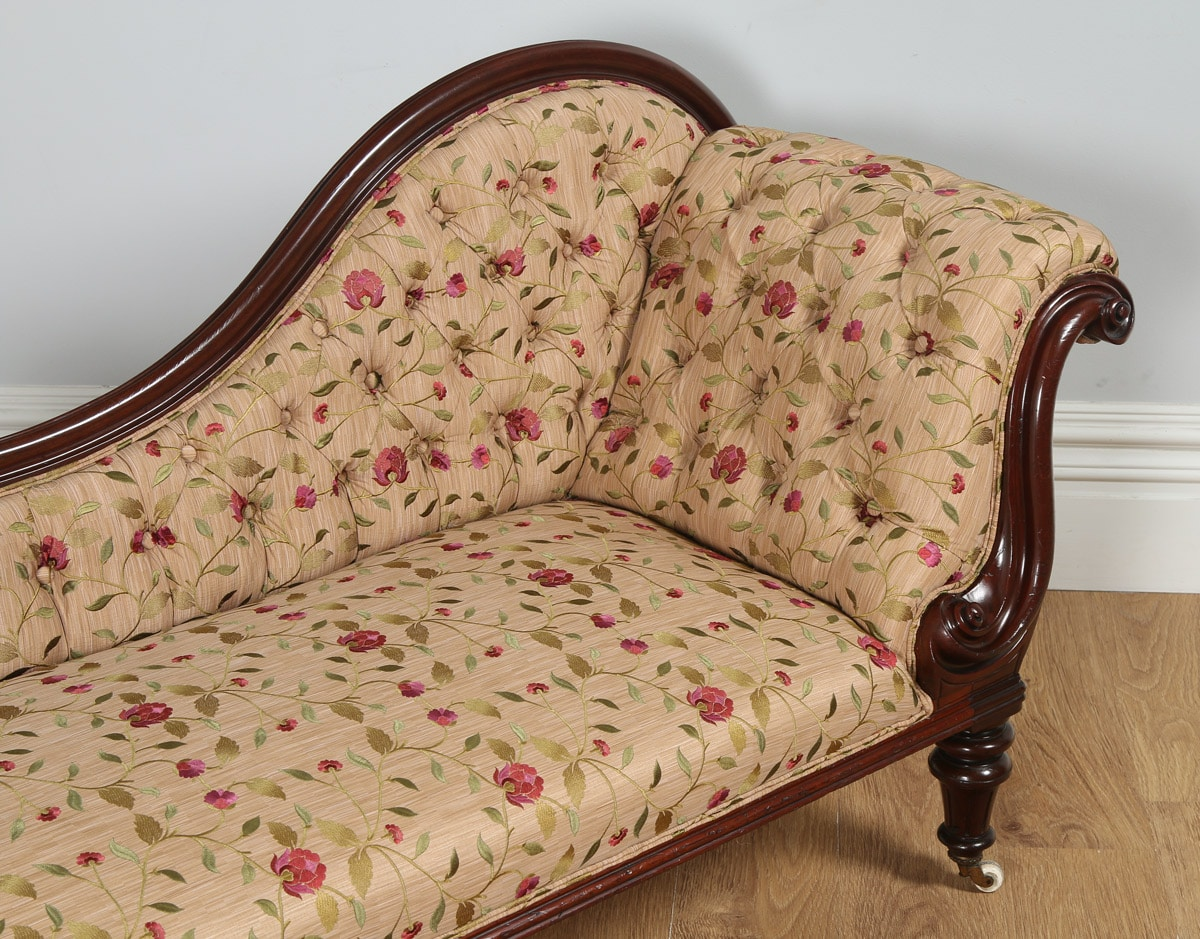Antique Victorian Mahogany Upholstered Floral Embroidered
