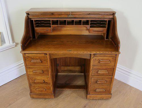 Oak 4ft Lebus Roll Top Pedestal Desk Circa 1901 1920 Yola Gray Antiques