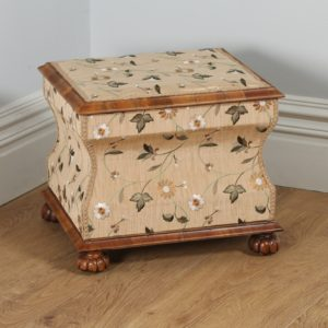 Antique English William IV Burr Walnut Silk Embroidered Concave Ottoman (Circa 1835)