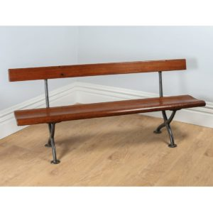 Antique Welsh Victorian 6ft Pitch Pine & Cast Iron Railway Station Bench (Circa 1880)