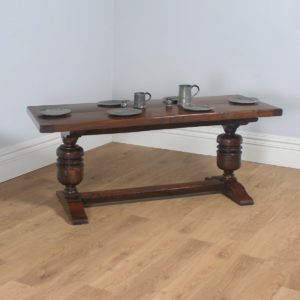 Antique English Jacobean Style Oak Kitchen Refectory Trestle Table (Circa 1890)