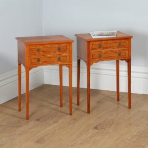 Pair of French Louis XVI Style Inlaid Yew Wood Bedsides / Chests / Cabinets (Circa 1950)