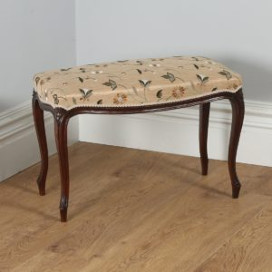 Antique French Louis Style Walnut Upholstered Duet Stool (Circa 1860)