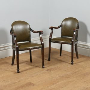 Antique Pair of Beech & Green Leather Office Desk Armchairs (Circa 1910 - 1920)