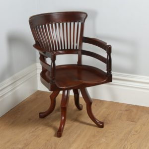Antique Victorian Mahogany Revolving Captain's Desk Chair (Circa 1900) - yolagray.com