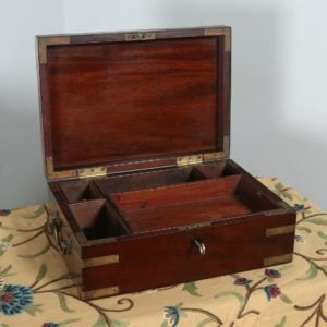 Antique Victorian Colonial Anglo Indian Mahogany Writing / Jewellery / Sewing Box (Circa 1880) - yolagray.com