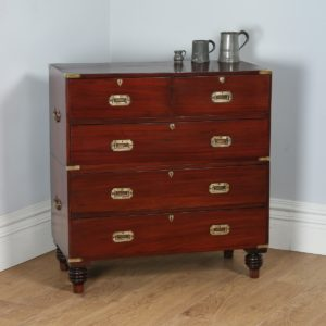 Antique Victorian Colonial Anglo Indian Mahogany & Brass Campaign Chest of Drawers (Circa 1880) - yolagray.com