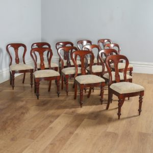 Antique Victorian Set of 12 Twelve Mahogany Balloon Back Upholstered Dining Chairs (Circa 1880) - yolagray.com