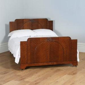 "Antique English Art Deco Oak 4ft 6"" Double Size Bed (Circa 1935) - yolagray.com"