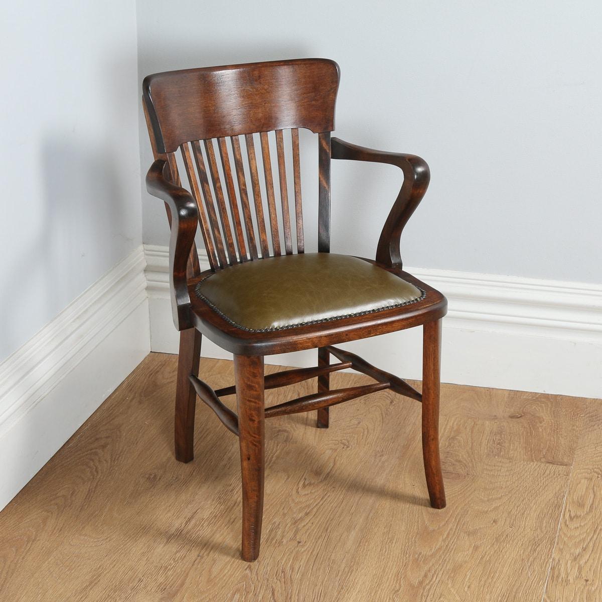 Antique Edwardian Beech Green Leather Office Desk Chair Circa 1910 Yolagray