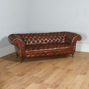 Antique English Victorian Mahogany & Brown Leather Chesterfield Attributed to Gillows of Lancaster (Circa 1850) - yolagray.com