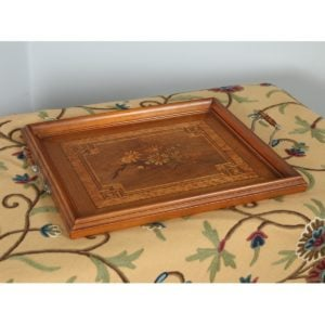 Antique Italian Victorian Sorrento Ware Olive Wood, Walnut & Birds Eye Maple Butlers Drinks Tray (Circa 1890) - yolagray.com