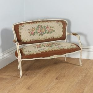 Antique French Louis XV Style Painted Gilt Shabby Chic Carved Upholstered Tapestry Couch (Circa 1910) - yolagray.com