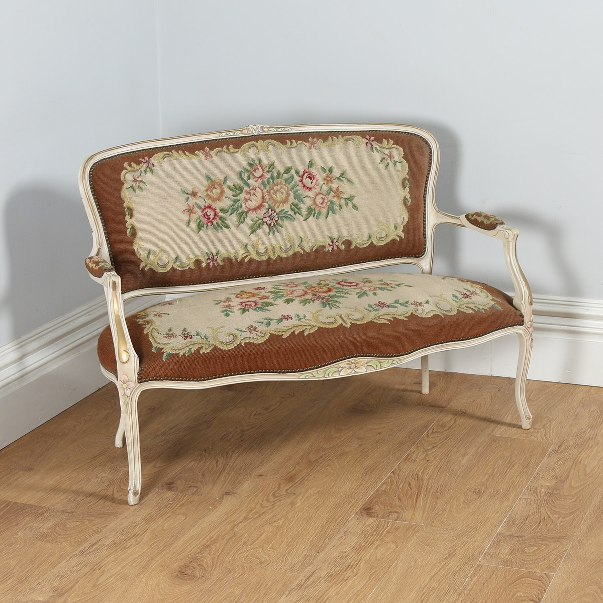 Antique Tapestry Sofa: Antique French Louis XV Style Painted & Gilt Carved
