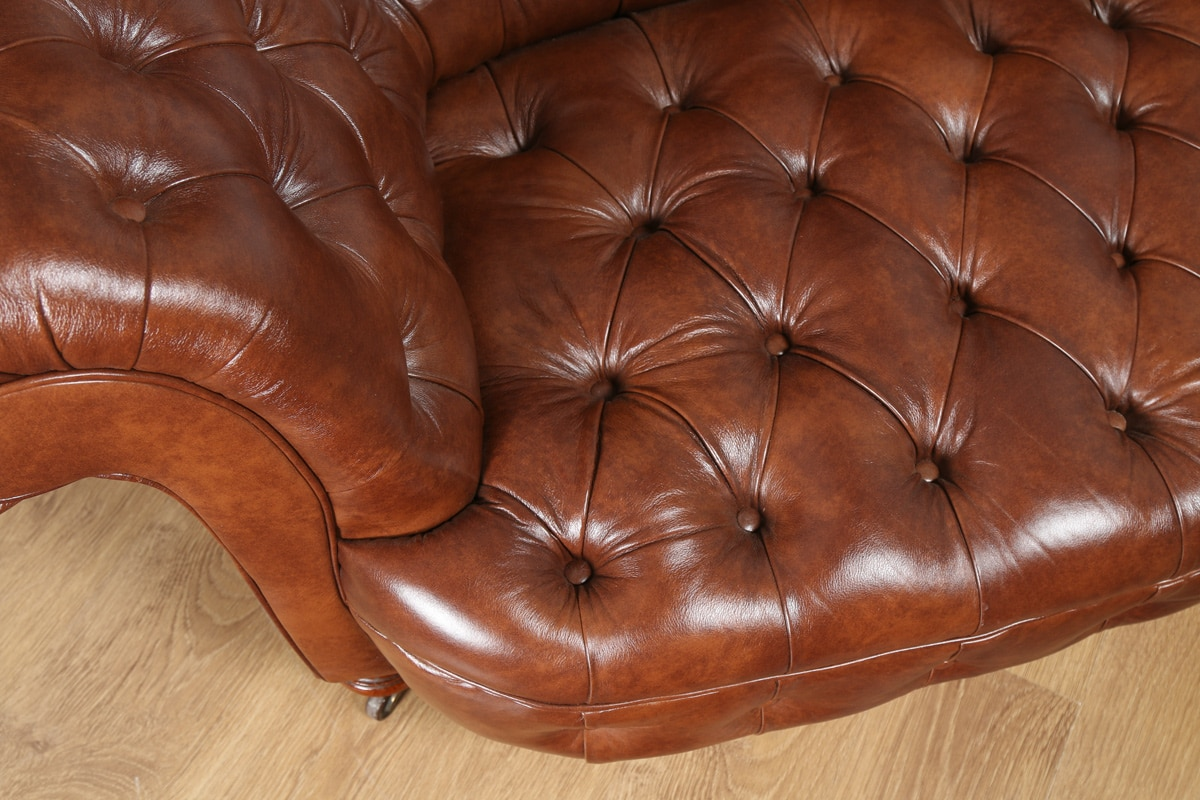 Antique English Victorian Mahogany Amp Brown Leather