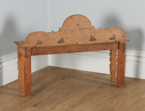 Antique English Victorian Gothic Carved Scrub Oak Hall / Window Bench (Circa 1860) - yolagray.com
