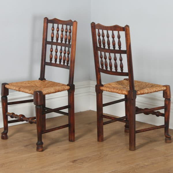 Set of 8 Ash & Elm Spindle Back Country Farmhouse Kitchen Dining Chairs (Circa 1970) - yolagray.com