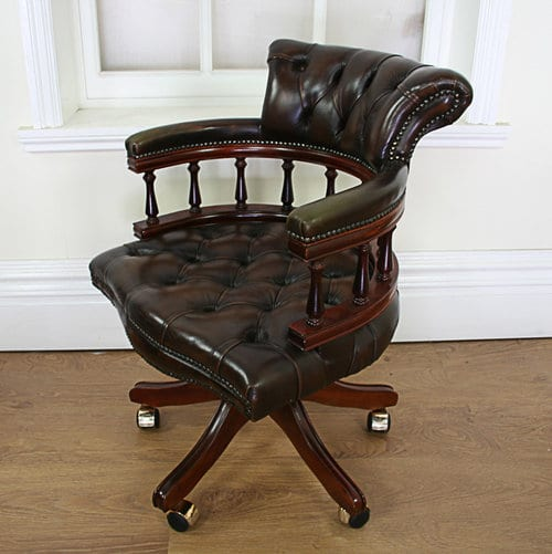 Vintage Looking Chairs: Victorian Style Leather Revolving Office Chair