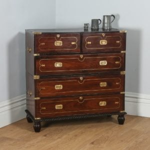 Colonial Style Anglo Indian Rosewood & Brass Military Officer's Campaign Chest of Drawers (Circa 1970) - yolagray.com