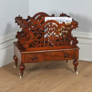 Antique Victorian Carved Figured Walnut Canterbury / Magazine Rack - yolagray.com