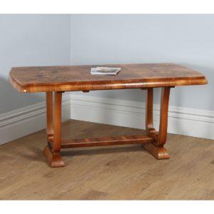 Antique English Art Deco Burr Walnut Extending Dining Table (Circa 1930) - yolagray.com
