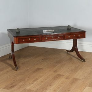 "Antique Regency Style 5ft 9⅝"" Mahogany & Leather Partners Library Table (Circa 1890) - yolagray.com"