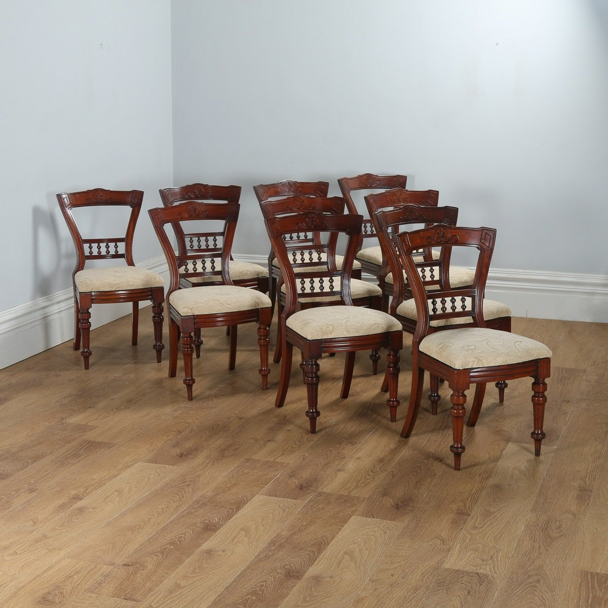 Antique Victorian Set Of 10 Mahogany Upholstered Dining Chairs By JBCW Circa 1890