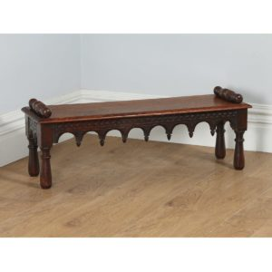 Antique English Victorian Gothic Carved Oak Window Seat (Circa 1860) - yolagray.com