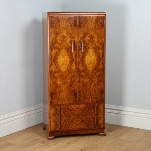 Antique English Art Deco Burr Walnut Two Door Wardrobe (Circa 1930) - yolagray.com