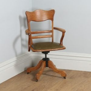 Antique Edwardian Oak & Leather Revolving Office Armchair - yolagray.com
