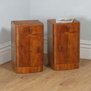 Antique Pair of Art Deco Figured Walnut Bedsides / Cabinets (Circa 1930) - yolagray.com
