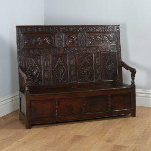 Antique Welsh George III Oak High-Back Box Settle (Circa 1780) - yolagray.com