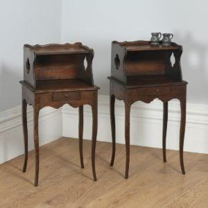 Antique Pair of French Louis XV Style Chestnut Bedsides / Nightstands (Circa 1920) - yolagray.com