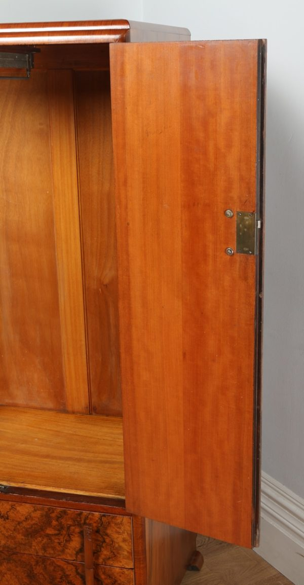 Antique English Art Deco Burr Walnut Two Door Wardrobe (Circa 1930) - yolagray.com