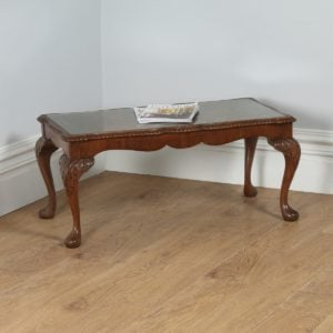 Antique Queen Style Carved Burr Walnut & Glass Rectangular Coffee Table (Circa 1920) - yolagray.com