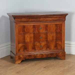 Antique French Louis Philippe Flame Mahogany & Walnut Chest of Drawers (Circa 1850) - yolagray.com