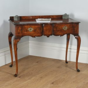 Antique English Maples & Co. Burr Walnut Queen Anne Style Serving Table (Circa 1920) - yolagray.com