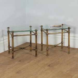 Antique Pair of Art Deco Brass & Glass Side Tables (Circa 1920) - yolagray.com
